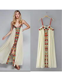 Sexy Light Yellow Embroidery Flower Decorated Long Dress