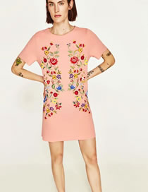 Fashion Pink Flower Pattern Decorated Pure Color Dress
