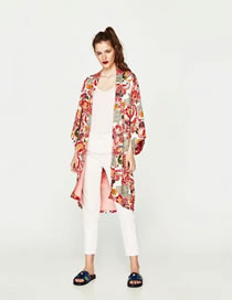 Fashion Red Flower Pattern Decorated Color Matching Coat