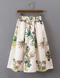 Fashion Beige Flower Pattern Decorated Color Matching Dress