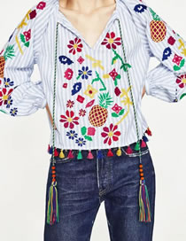 Fashion Multi-color Tassel Decorated Pineapple Pattern Color Matching Shirt