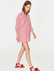 Fashion Red+white Stripe Decorated Pure Color Long Sleeve Shirt