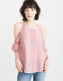 Fashion Pink Flower Decorated Hollow Out Pure Color Shirt