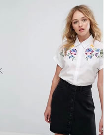Fashion White Embroidery Flower Decorated Pure Color Short Shirt