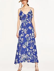Fashion Sapphire Blue Flower Pattern Decorated Color Matching Dress