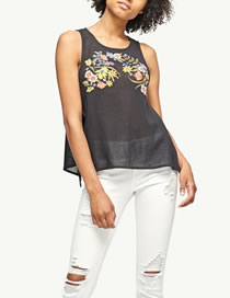 Fashion Black Embroidery Flower Decorated Color Matching Sleeveless Shirt