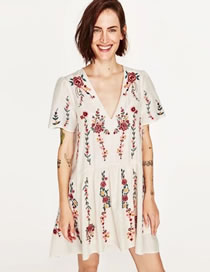 Fashion Beige Flower Pattern Decorated V Neckline Pure Color Dress