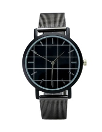 Fashion Black Plaid Pattenr Decorated Pure Color Watch
