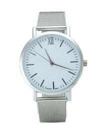Fashion Silver Color Round Dial Decorated Pure Color Watch