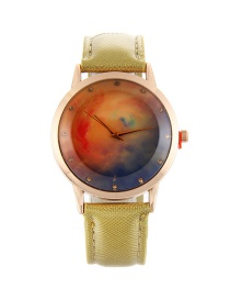 Fashion Gold Color Stars Pattern Decorated Pure Color Watch