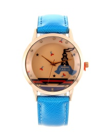 Fashion Blue Tower Pattern Decorated Pure Color Watch