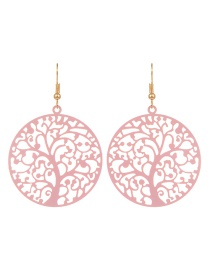 Fashion Pink Tree Shape Decorated Hollow Out Pure Color Earrings
