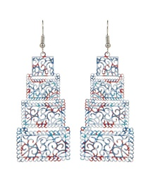 Fashion Multi-color Square Shape Decorated Hollow Out Color Matching Earrings