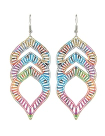 Fashion Multi-color Oval Shape Decorated Hollow Out Color Matching Earrings