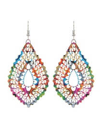 Fashion Multi-color Water Drop Shape Decorated Hollow Out Pure Color Earrings