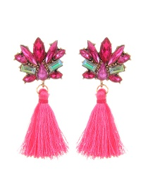 Fashion Plum Red Diamond&tassel Decorated Pure Color Earrings