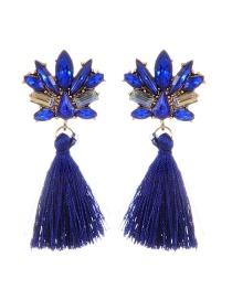 Fashion Sapphire Blue Diamond&tassel Decorated Pure Color Earrings