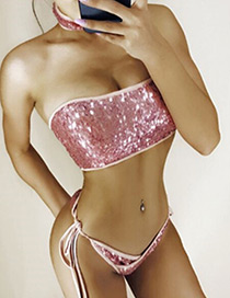 Sexy Pink Sequins Decorated Pure Color Bikini