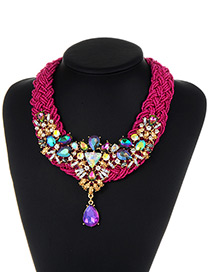 Fashion Purple Bead&diamond Decorated Water Drop Shape Pure Color Necklace