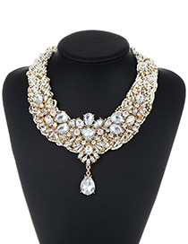 Fashion White Bead&diamond Decorated Water Drop Shape Pure Color Necklace