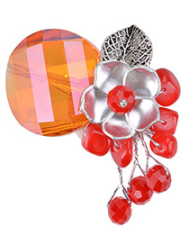 Fashion Red Pearl Decorated Flower Shape Color Matching Brooch