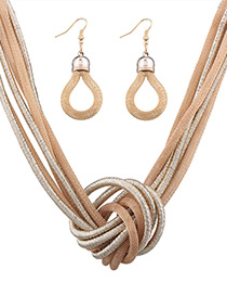 Fashion Gold Color Knot Shape Decorated Pure Color Jewelry Set