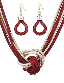 Fashion Red Knot Shape Decorated Pure Color Jewelry Set