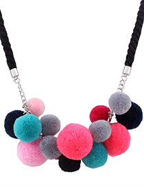 Fashion Multi-color Ball Decorated Weave Color Matching Pom Necklace