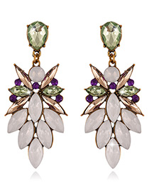 Fashion Multi-color Diamond Decorated Oval Shape Color Matching Earrings