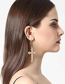 Vintage Gold Color Cross Shape Decorated Earrings