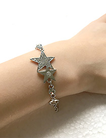 Elegant Silver Color Star Shape Decorated Bracelet