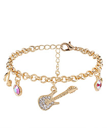 Elegant Gold Color Violin Shape Decorated Bracelet