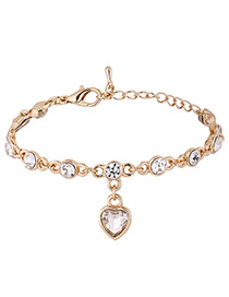 Elegant Gold Color Heart Shape Decorated Bracelet
