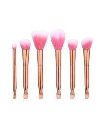 Fashion Rose Gold Pure Color Decorated Brush (6pcs)