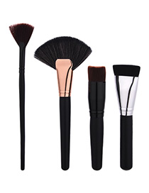 Fashion Black Sector Shape  Decorated Simple Brush (4pcs)