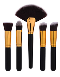 Fashion Black+gold Color Fan Decorated Brush (5pcs)