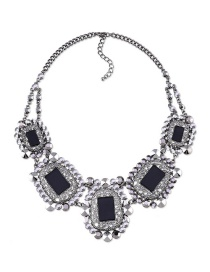 Fashion Black Square Shape Diamond Decorated Short Necklace