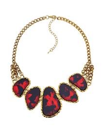 Fashion Red Geometric Shape Gemstone Decorated Necklace