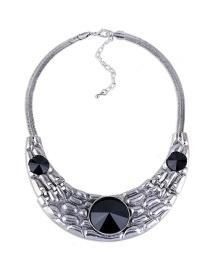 Fashion Silver Color Oval Shape Diamond Decorated Arc Shape Necklace
