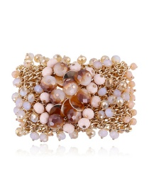 Fashion Pink Diamond Decorated Multi-layer Bracelet