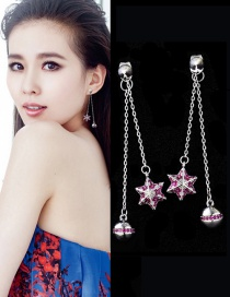 Fashion Silver Color Star&ball Decorated Pure Color Earrings
