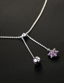 Fashion Gold Color Star&ball Decorated Pure Color Necklace