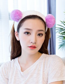Cute Purple Fuzzy Ball Decorated Washing Face Hair Band
