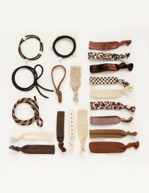 Fashion Coffee Color Matching Decorated Hair Band (20pcs+box)