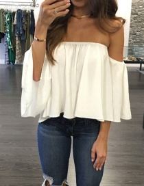 Fashion White Pure Color Decorated Off Shoulder Pure Color Shirt
