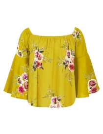 Fashion Yellow Flower Pattern Decorated Pure Color Long Sleeve Shirt