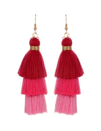 Fashion Red Tassel Decorated Pure Color Earrings