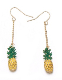 Lovely Yellow Pineapple Shape Decorated Earrings