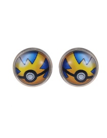 Fashion Yellow Poke Ball Decorated Earrings