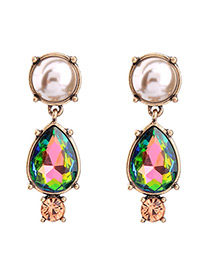 Vintage Multi-color Oval Shape Diamond Decodrated Earrings